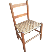 Vintage Child's Primitive Woven Splint Seat Chair