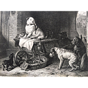 19th Century Landseer Dog Engraving - JACK in OFFICE