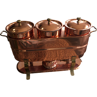 Vintage Mid Century Tin Lined Copper and Brass Triple Chafing Buffet Dish