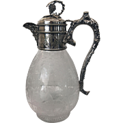 Antique English Victorian BACCHUS Silver Plate and Crystal Claret Jug
