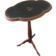 Vintage English Cartouche Shaped Leather Top Drinks Table