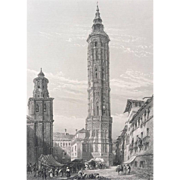 19C Steel Engraving - Leaning Tower of Saragossa Spain