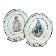 Beautiful Pair of Pinkie and Blue Boy table top Plaques