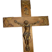Vintage Wood Crucifix Art Deco Style