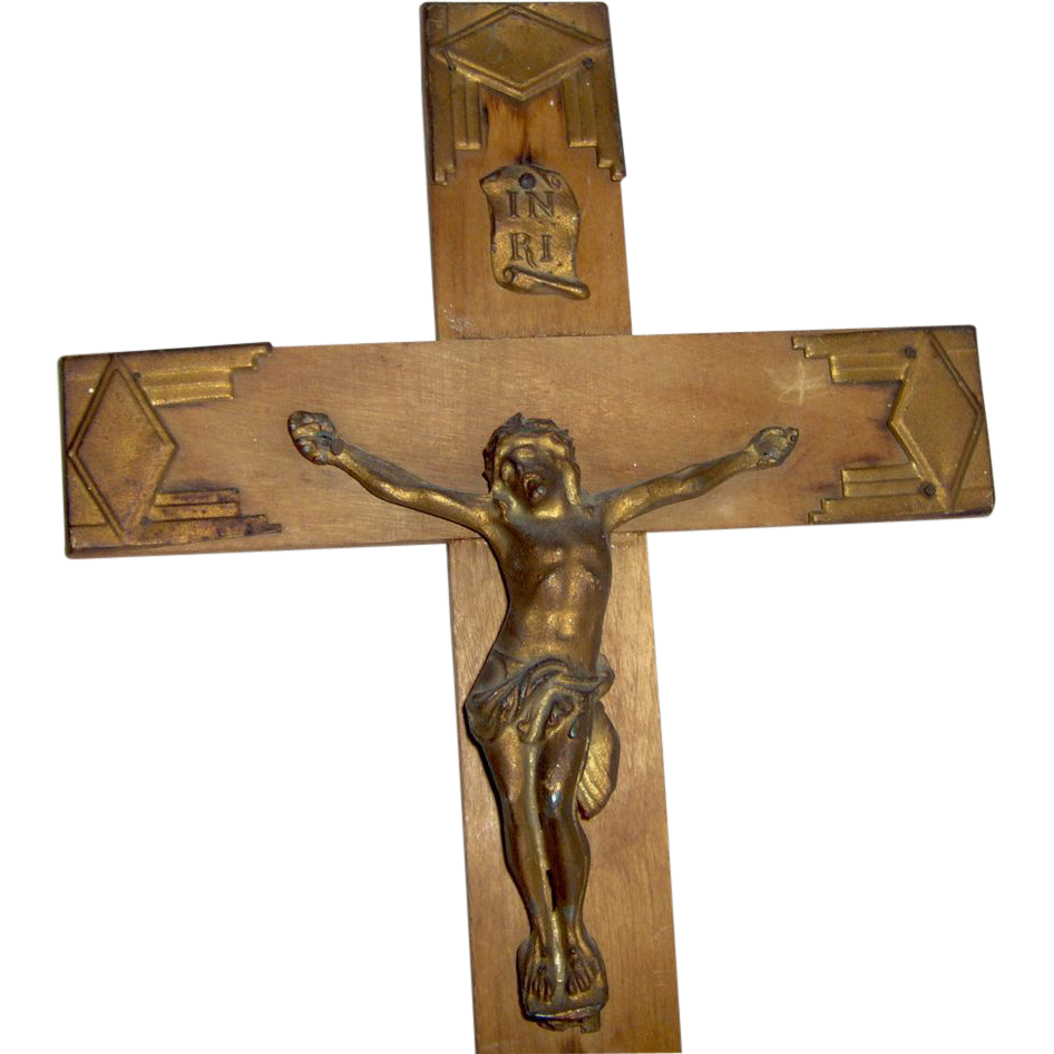 Vintage wood crucifix art deco style from shopwithelaine on ruby lane - Style vintage deco ...