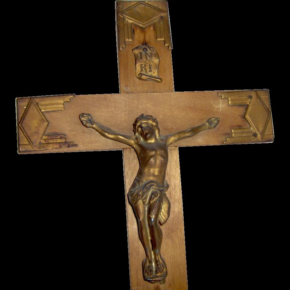 Vintage Wood Crucifix Art Deco Style