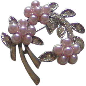 Pink and Silver-tone brooch
