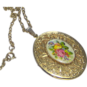 Vintage Floral Locket with Chain