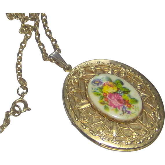 Floral and Gold-tone Locket with Chain
