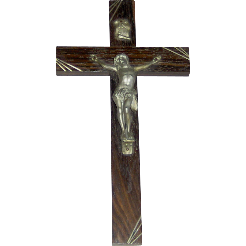 Crucifix with Art Deco Style Corner Decoration