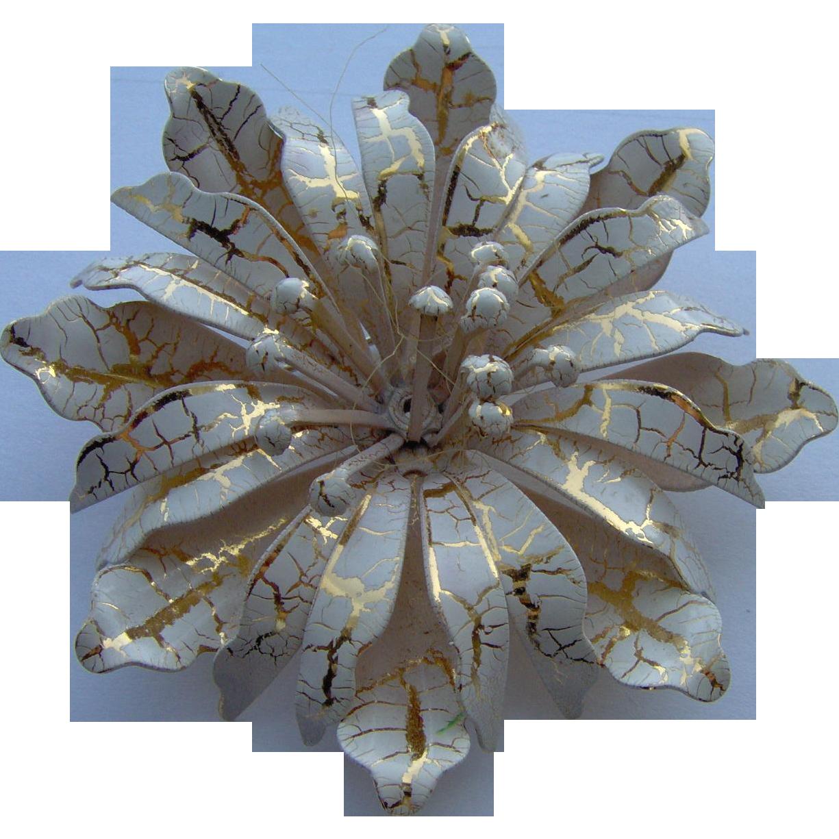 Beautiful Enamel Flower Brooch