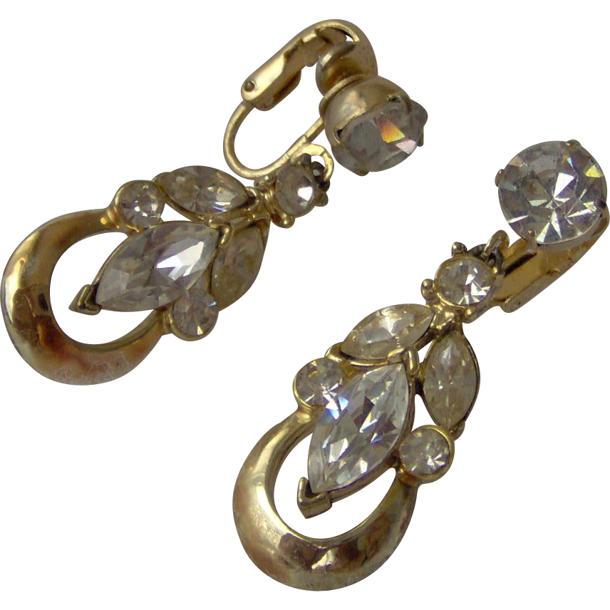 Rhinestone Dangle Earrings by CORO