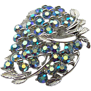 Blue and Silver-tone Brooch by BSK