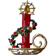 Vintage Christmas Candle Brooch
