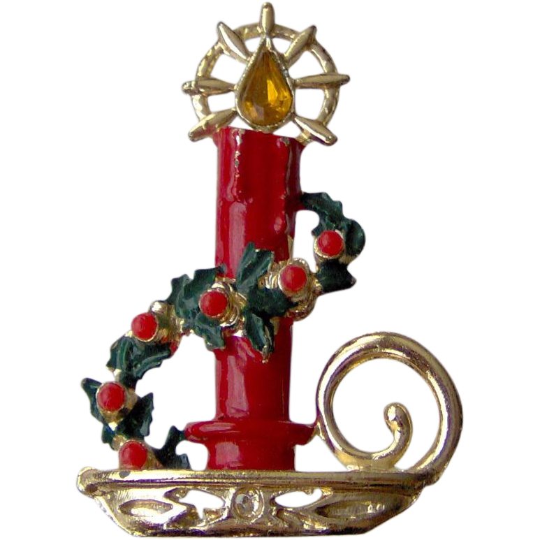 Christmas Candle Brooch