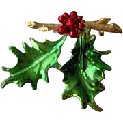 Christmas Brooch with Holly