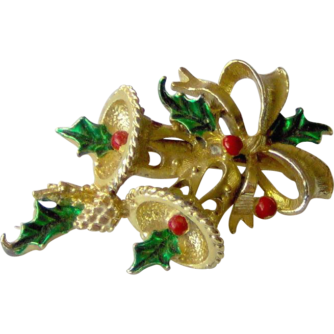 Vintage Christmas Brooch with Bells signed Gerry's