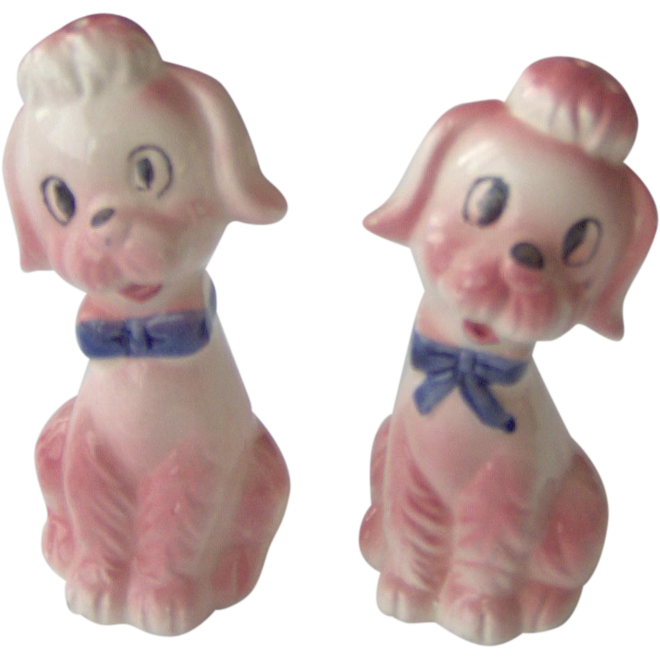 Cute Pink Poodles Salt And Pepper Shakers From