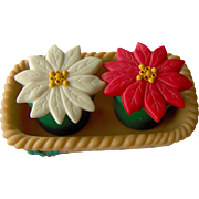 Basket of Poinsettia's salt and pepper set