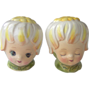 Thumbelina Honey Bun Girl salt and pepper shakers