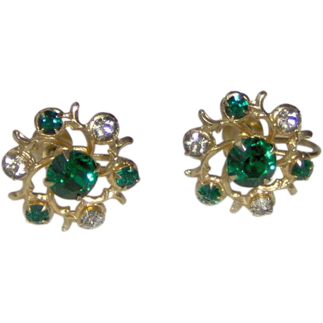 Green and Gold-tone Earrings by CORO