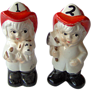Vintage Boy and Girl Firefighter Salt and Pepper Shakers