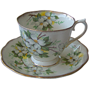White Dogwood cup and saucer by Royal Albert