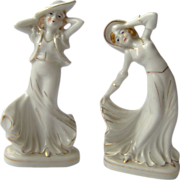 Pair of Occupied Japan Dancing Lady Figurines
