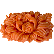 Coral Orange Colored Floral Celluloid Brooch
