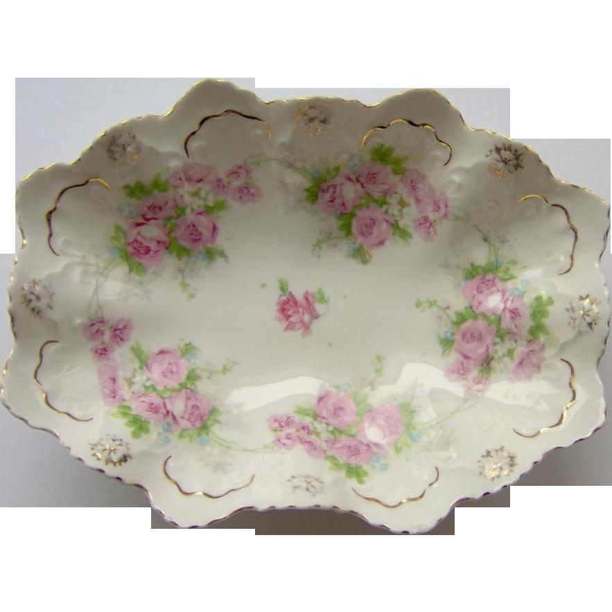 Vintage Scalloped Floral Dish  MZ Austria