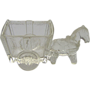 Glass Donkey and Cart - candy container