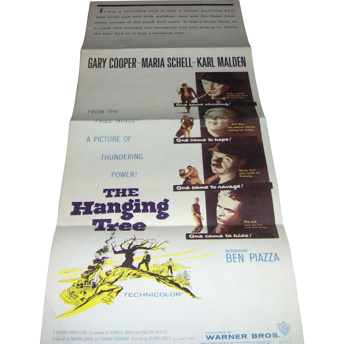 Vintage Movie Poster The Hanging Tree with Gary Cooper