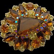 Vintage Large Amber Brooch