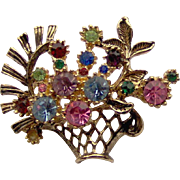 Vintage Brooch Basket of Flowers