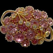 Sparkling Pink Rhinestone Brooch