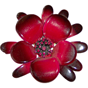 Vintage Red and Black Enamel Flower Brooch