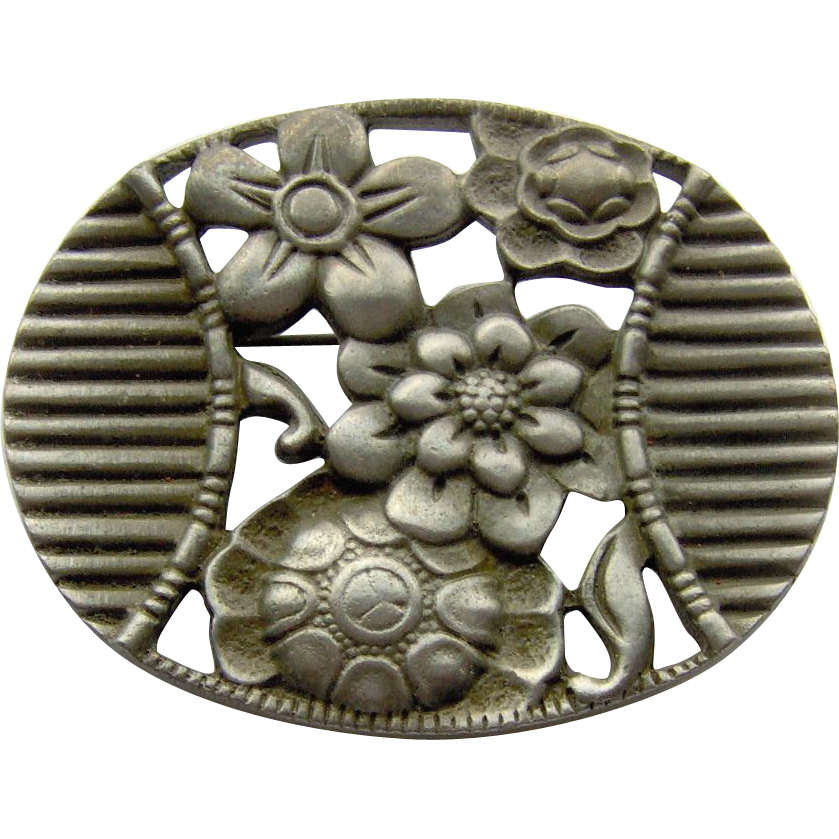 Pewter-tone Floral Brooch by Coventry Canada