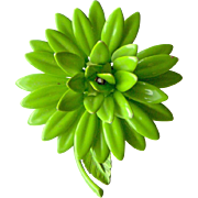 Green Enamel Flower Brooch