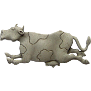 Vintage Pewter Cow Brooch signed J.J.