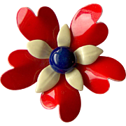 Vintage Red White and Blue Enamel Flower Brooch