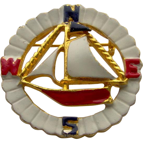 Vintage Enamel Sailboat Brooch signed Coro