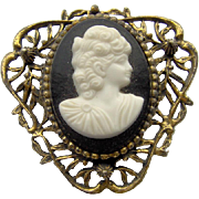 Vintage Filigree Cameo Brooch