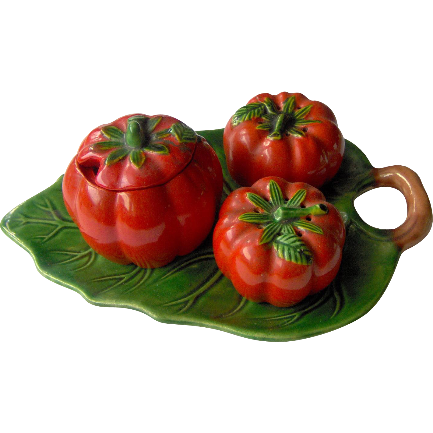 Vintage Tomato salt and pepper with condiment pot and tray set