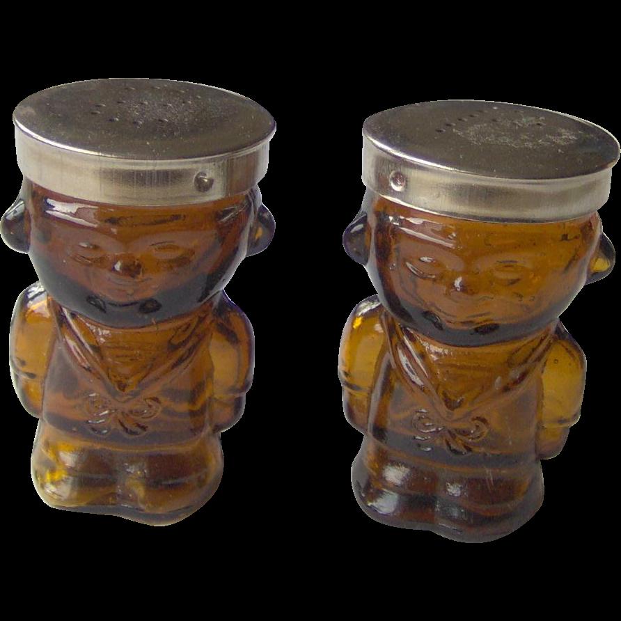 Vintage Glass Sailor Boy salt and pepper shakers