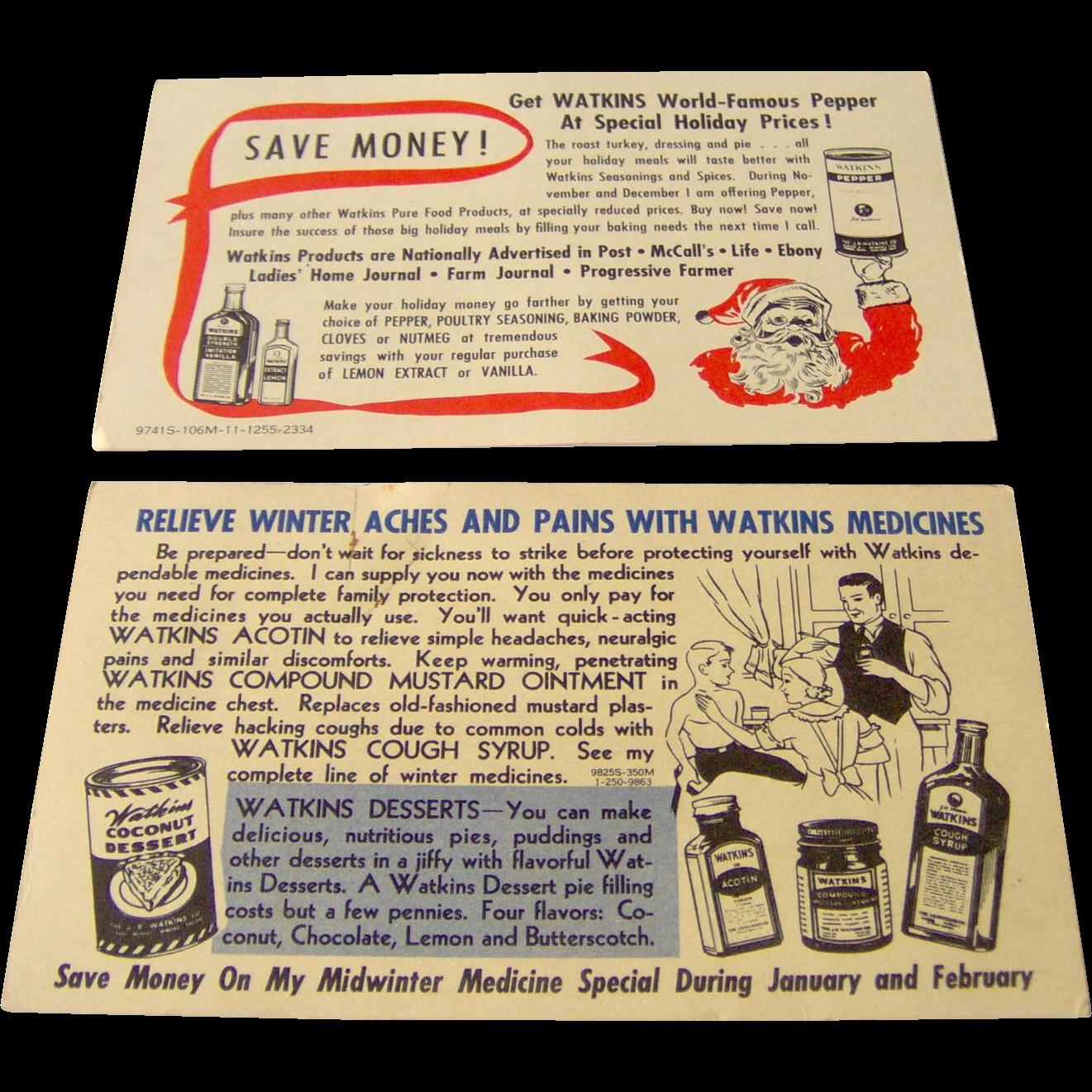 Vintage Watkins salesman sample postcards