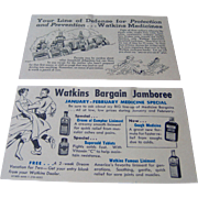 A pair of Watkins salesman's advertising postcards