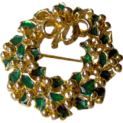 Green and Gold-Tone Wreath brooch