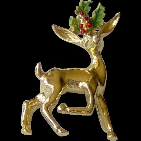 Vintage Christmas Reindeer Brooch signed Gerrys