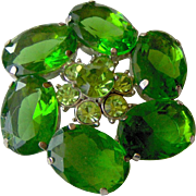 Beautiful Green rhinestone brooch