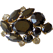Black and Clear Rhinestone brooch